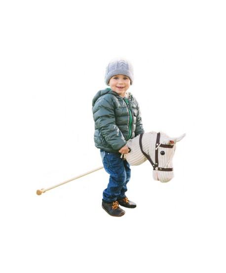 Caballo de palo para cabalgar con ruedas y sonido blanco
